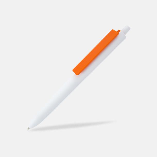 Vit / Orange Läckra bläckpennor med reklamtryck