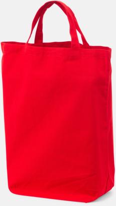 Röd (Korta handtag) Bomullskassar med tryck