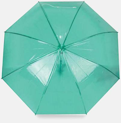Grön Genomskinliga paraplyer med reklamtryck