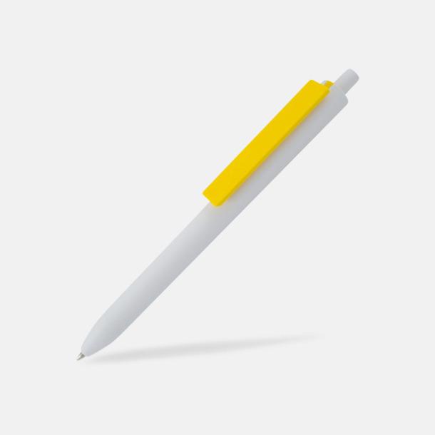 Vit / Gul Läckra bläckpennor med reklamtryck