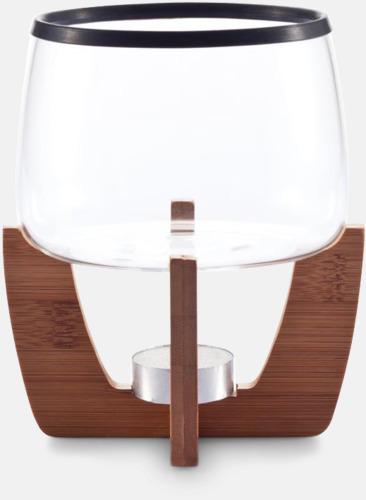 Transparent / Brun Fondue-set med bambu med reklamtryck