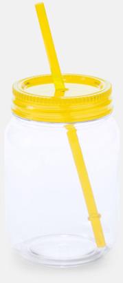 Gul Burkformade muggar med sugrör - med reklamtryck