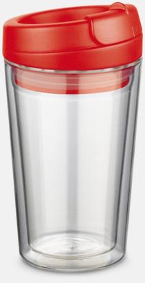 Röd 27 cl take away glas med reklamtryck