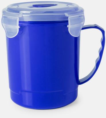 Blå Plastmugg med lock med reklamtryck