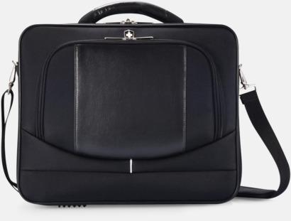 Svart PVC-fria laptopväskor från Swiss Peak med reklamtryck