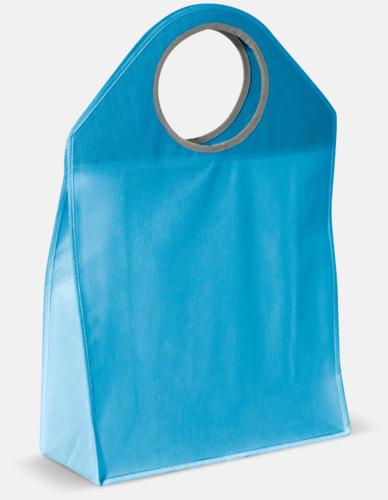 Ljusblå Stora non woven-väskor med runda handtag - med reklamtryck