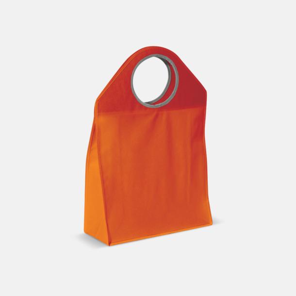Orange Stora non woven-väskor med runda handtag - med reklamtryck