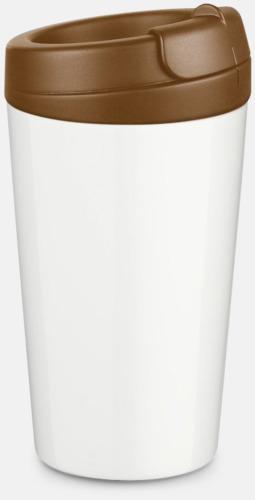 Mörkbrun 27 cl take away plastglas med reklamtryck
