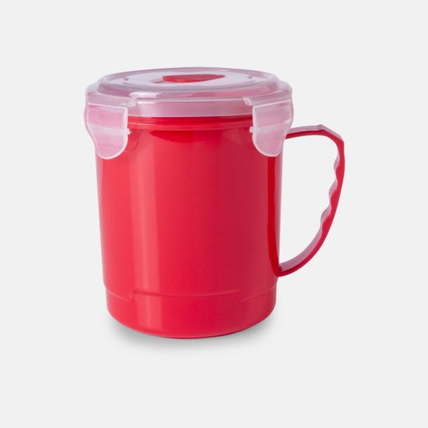 Röd Plastmugg med lock med reklamtryck