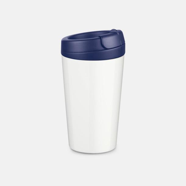 Mörkblå 27 cl take away plastglas med reklamtryck