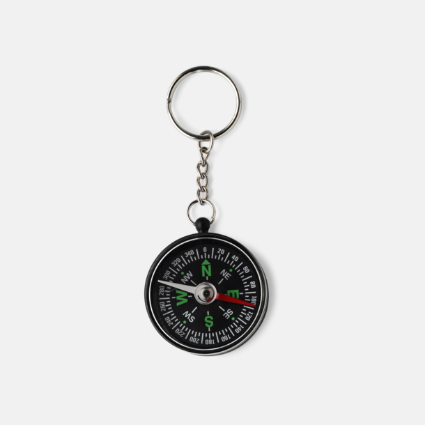 Svart Kompass och nyckelring med reklamtryck