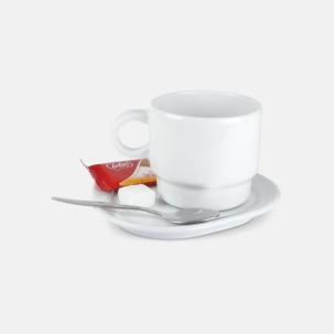 Små, stapelbara porslinskoppar med reklamtryck