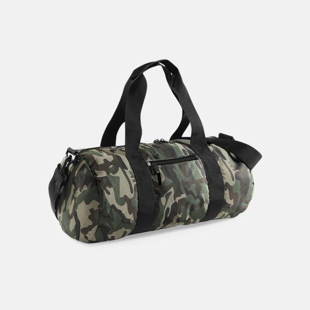 Jungle Camouflage/Svart Varsiry barrel bagen med kamouflagemönster med reklamtryck
