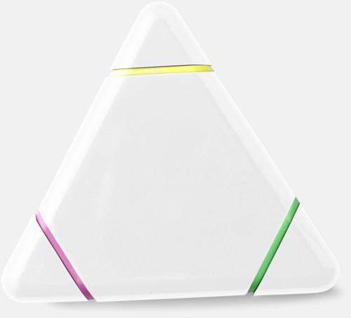 Vit Triangelformade överstrykningspennor med reklamtryck