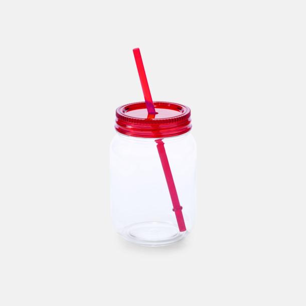 Röd Burkformade muggar med sugrör - med reklamtryck