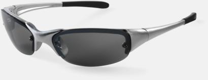 Silver/Svart Sportiga solglasögon med reklamtryck
