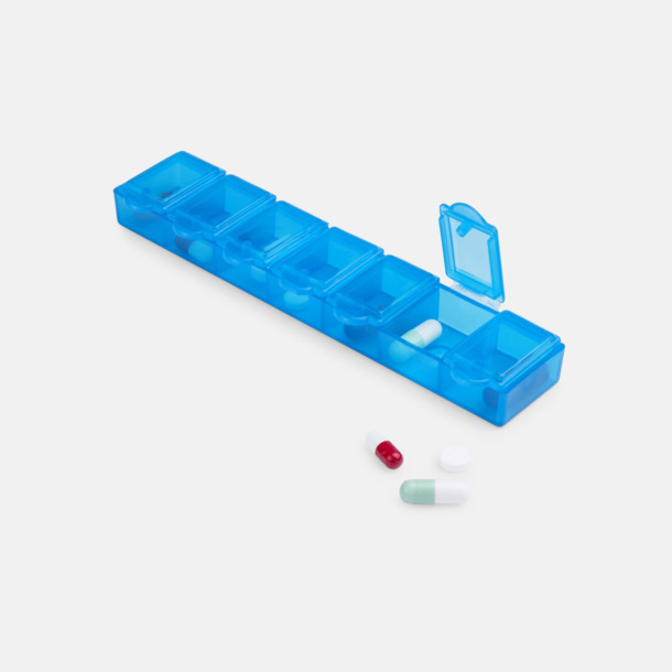 Avlånga, genomskinliga tablettboxar med reklamtryck