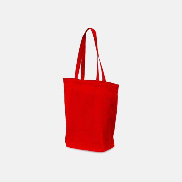Röd PMS 1797 (långa handtag) Bomullskassar med tryck