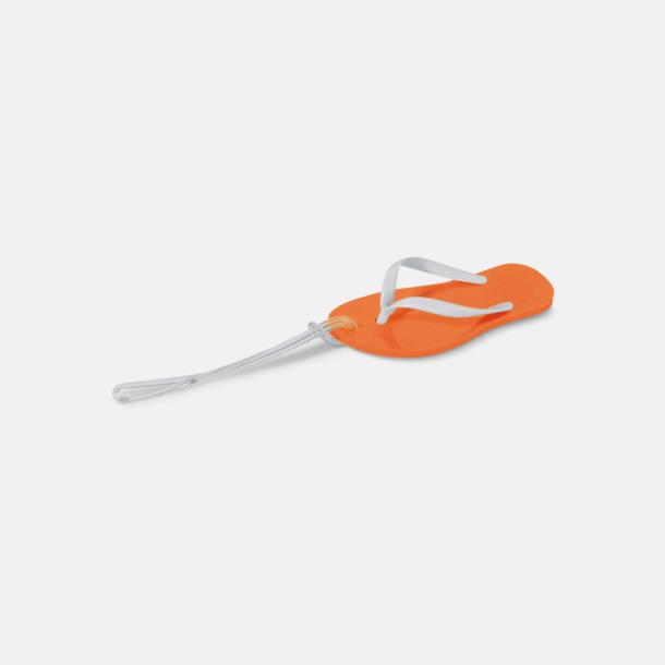 Orange Flipflop formade bagagebrickor med reklamtryck