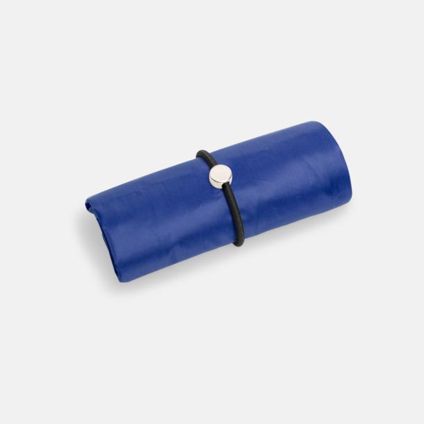 Blå Vikbara shoppingväskor med reklamtryck