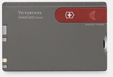 Grå SwissCard Classic från Victorinox med reklamlogo