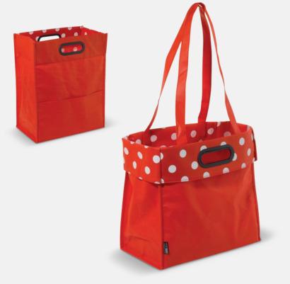 Röd Non woven-väskor med dubbla handtag - med reklamtryck