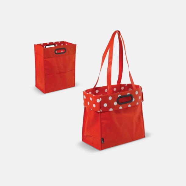 Röd/Prickig Non woven-väskor med dubbla handtag - med reklamtryck