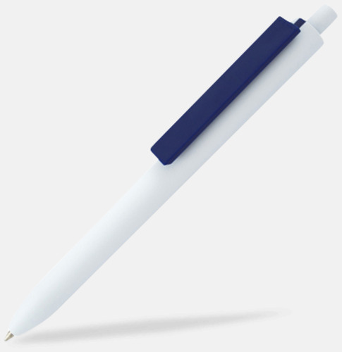 Vit / Marinblå Läckra bläckpennor med reklamtryck