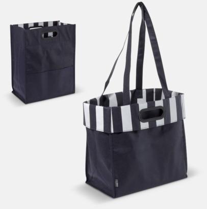 Mörkblå Non woven-väskor med dubbla handtag - med reklamtryck