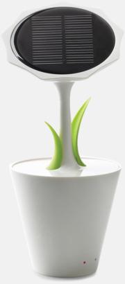 Vit/Grön Solcellsladdare i blomdesign med reklamtryck