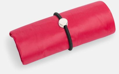 Röd Vikbara shoppingväskor med reklamtryck
