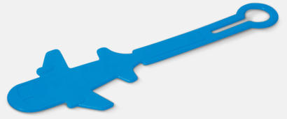Blå Bagagerickor formade som flygplan med reklamtryck