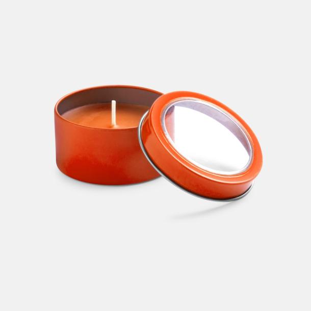 Orange Vaniljedotande värmeljus med reklamtryck