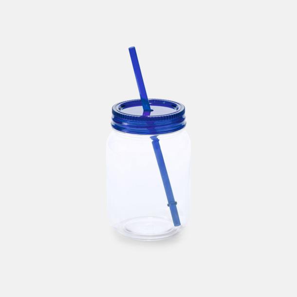 Blå Burkformade muggar med sugrör - med reklamtryck