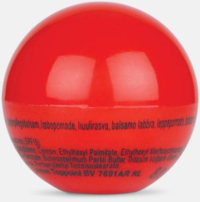 Röd Bollformade läppcerat med reklamtryck