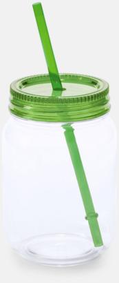 Grön Burkformade muggar med sugrör - med reklamtryck