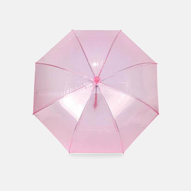 Rosa Genomskinliga paraplyer med reklamtryck