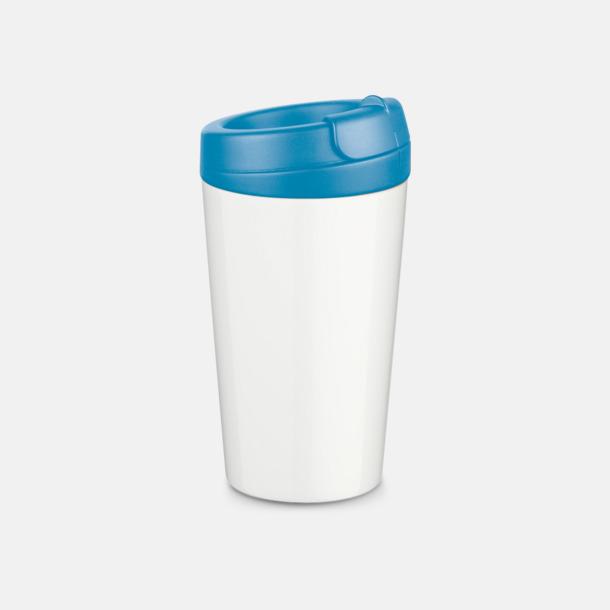 Ljusblå 27 cl take away plastglas med reklamtryck