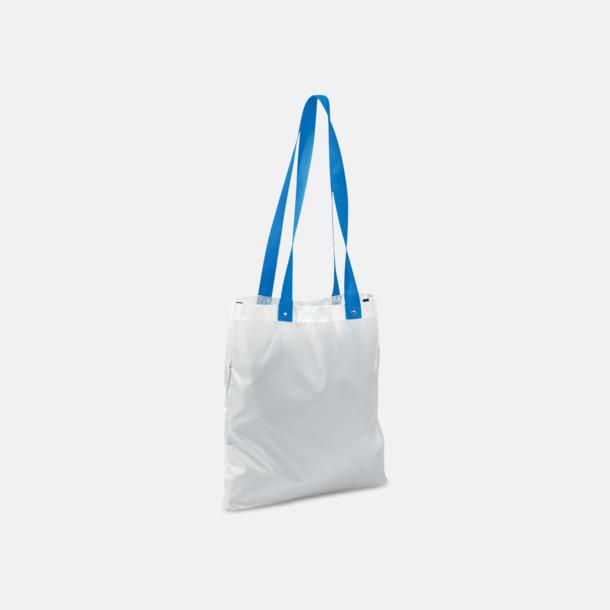 Vit/Blå Grå eller vita kassar med färgade handtag - med reklamtryck