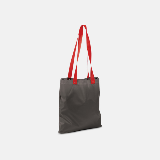 Grå/Röd Grå eller vita kassar med färgade handtag - med reklamtryck
