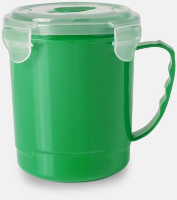 Grön Plastmugg med lock med reklamtryck