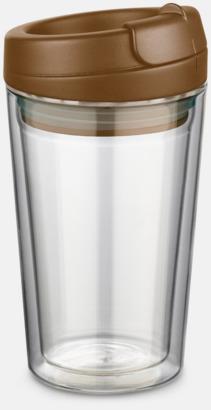 Mörkbrun 27 cl take away glas med reklamtryck