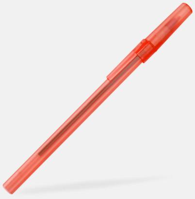 Röd (frostad) Bläckpennor med lock - med reklamtryck