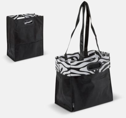 Svart Non woven-väskor med dubbla handtag - med reklamtryck