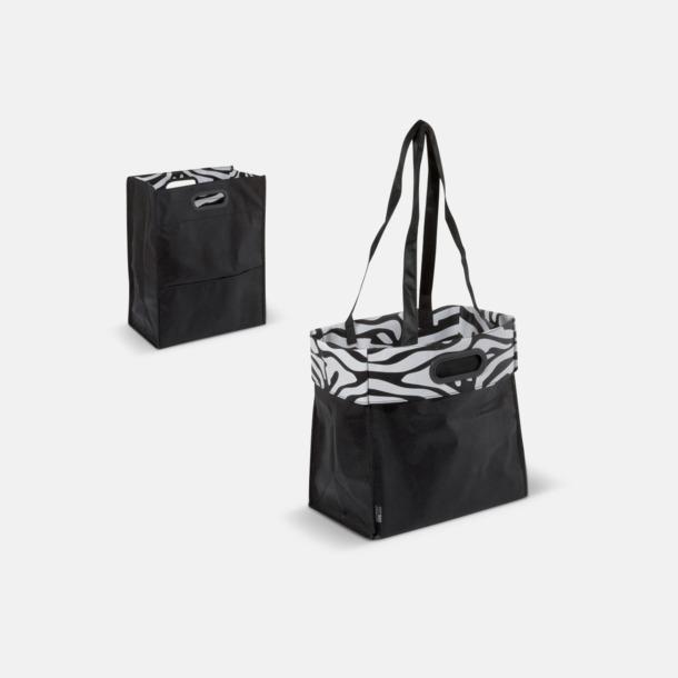 Svart/Zebra Non woven-väskor med dubbla handtag - med reklamtryck