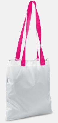 Vit/Rosa Grå eller vita kassar med färgade handtag - med reklamtryck