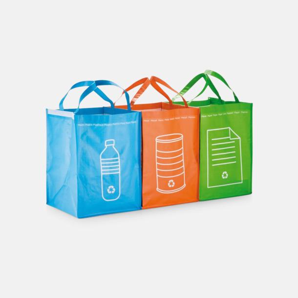 Blå, Orange, Grön PVC-fria återvinningskassar med reklamtryck