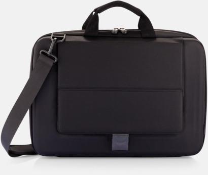 Svart Säkra väskor för surfplatta och laptop i återvunnet material - med reklamtryck