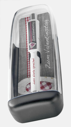 Plastfodral inlägg 1 (se tillval) Soft touch-pennor med reklamtryck