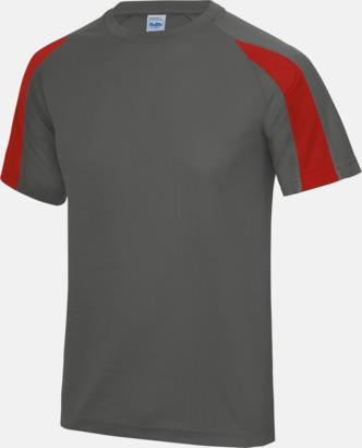 Charcoal/Fire Red Tvåfärgade sport t-shirts för barn & vuxna - med reklamtryck